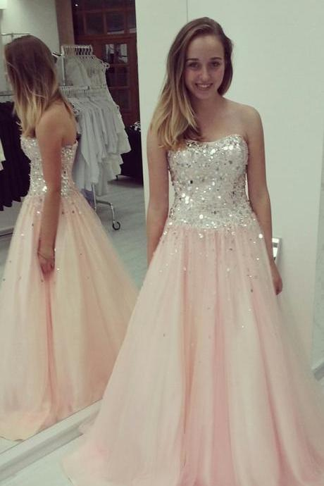 Pink Tulle A Line Prom Dress with Silver Sequin Bodice