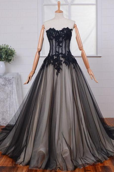 Lace Prom Dress A-Line Prom Dress Tulle Prom Dress Sweetheart Prom Dress Appliques Prom Dress