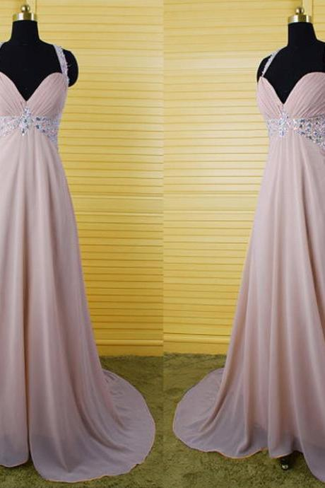 Halter Ruched Beaded Chiffon A-line Long Prom Dress, Evening Dress