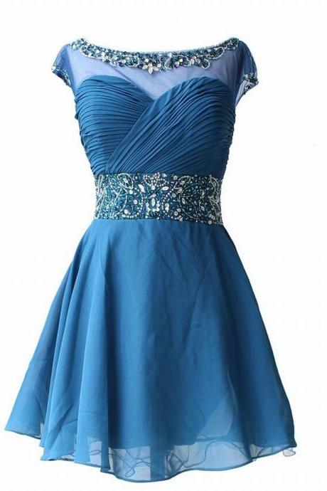 Charming Homecoming Dress Chiffon Homecoming Dress O-Neck Homecoming Dress Short Noble Homecoming Dress