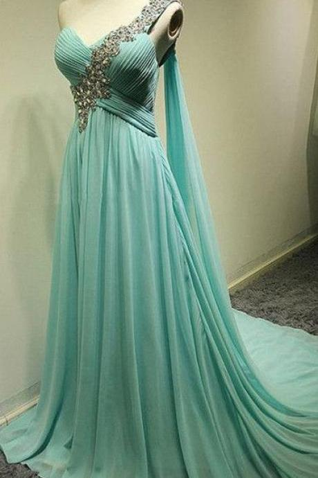 Charming Bridesmaid Dress One Shoulder Bridesmaid Dress Chiffon Bridesmaid A-Line Prom Dress with Sequined