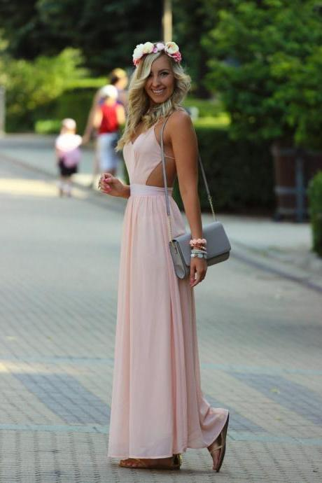 Pink Prom Dress Charming Prom Dress Chiffon Prom Dress Bride Prom Dress Backless Prom Dress