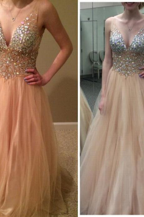 Crystal Prom Dress V-Neck Prom Dress A-Line Prom Dress Sequined Prom Dress Tulle Prom Dress