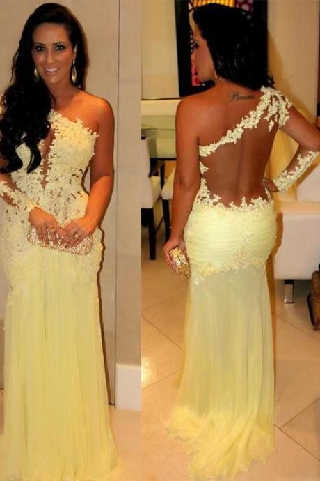 Charming Prom Dress One-Shoulder Prom Dress Appliques Prom Dress Long Sleeve Prom Dress Mermaid Prom Dress