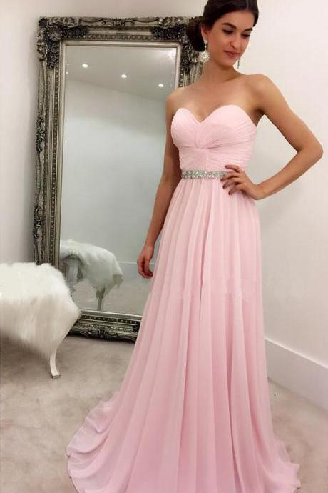 Prom Dress Sweetheart Prom Dress Pink Chiffon Prom Dress Long Beaded Prom Dresses Sexy Prom Dress Long Evening Dresses Prom Dresses Long Evening Dresses Long Beaded Prom Dresses Cheap Long Party Gowns for Teens Long Chiffon Party Dresses
