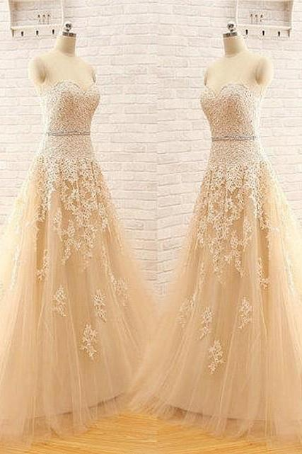 New Arrival A Line Custom Made Sweetheart Strapless Elegant Tulle Lace Light Champagne Wedding Dress Wedding Gown Bridal Dress Wedding Dresses Charming A-Line Wedding Dress Ball Gown
