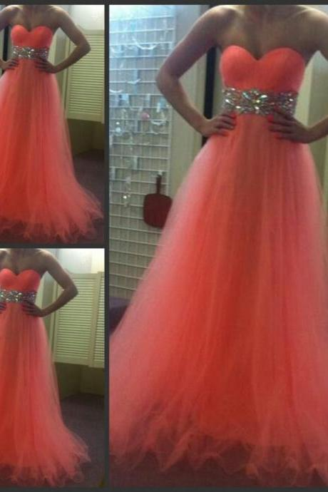 Orange Red Prom Dress Shiny Crystal Waist Prom Dress Sweetheart Floor Length Long Prom Dress Tulle Prom Dress Free Custom Made Prom Dress