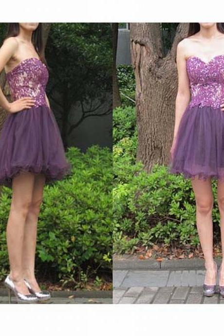 Purple Short Prom Dress Lace Prom Dress Prom Dress Formale Custom Made Prom Dress Evening Dress