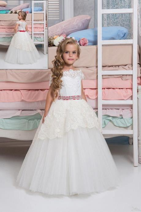 Red Belt Flower Girl Dresses .Flower Girl Dresses. Sleeveless Flower Gril Dresses,Satin Flower Girl Dresses 458