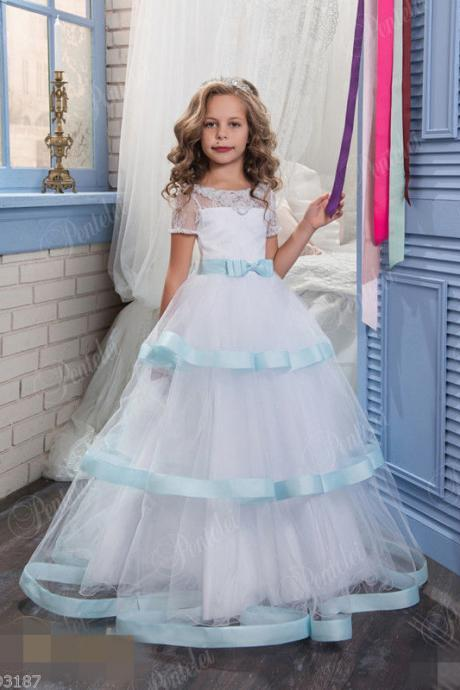Short Sleeve Ruffle Kids Fashion Flower Girl Dresses .Flower Girl Dresses Flower Gril Dresses,Satin Flower Girl Dresses 459