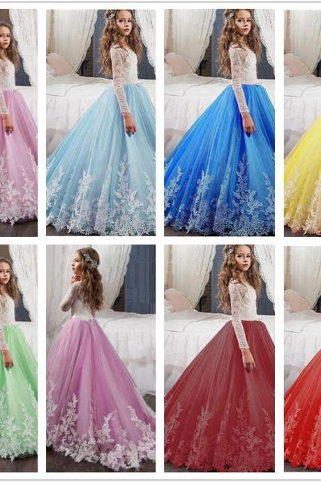Long Sleeve Ball Gown Lace Applique Flower Girl Dresses .Flower Girl Dresses.Flower Gril Dresses,Satin Flower Girl Dresses 480