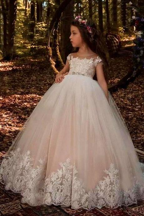 Formal New Fashion Children Lace Flower Girl Dresses .Flower Girl Dresses.Flower Gril Dresses,Satin Flower Girl Dresses 486