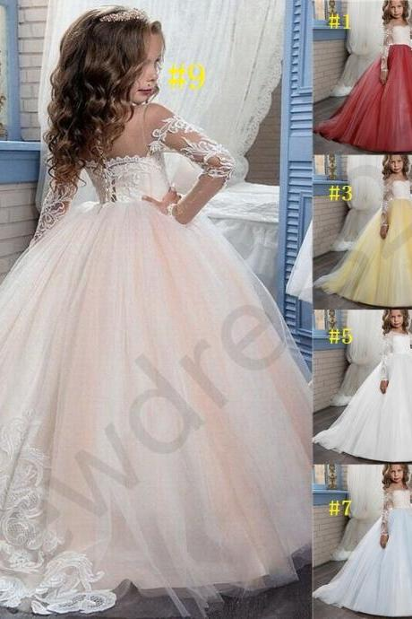 Formal Long Sleeve Kids Princess Gown Children Lace Flower Girl Dresses .Flower Girl Dresses.Flower Gril Dresses,Satin Flower Girl Dresses cs03