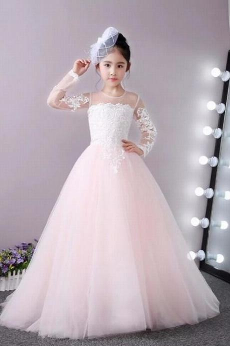 Formal Long Sleeve Children Lace Flower Girl Dresses .Flower Girl Dresses.Flower Gril Dresses,Satin Flower Girl Dresses ytz126