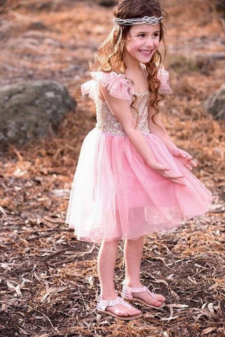 Flutter Princess Sparkles Sequin Tutu Party christmas flower girl wedding Dress ytz199 (1)