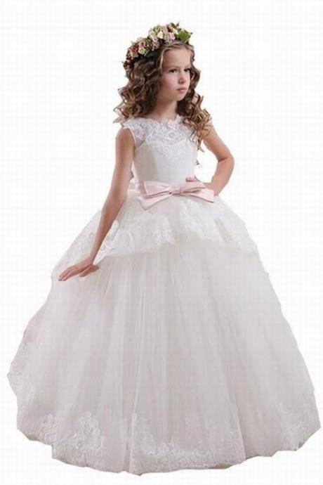 6fb7c6257d Flower Girl Dresses For Weddings Elegant White Pink Lace Sheer Tulle V Back  Vestidos De Comunion