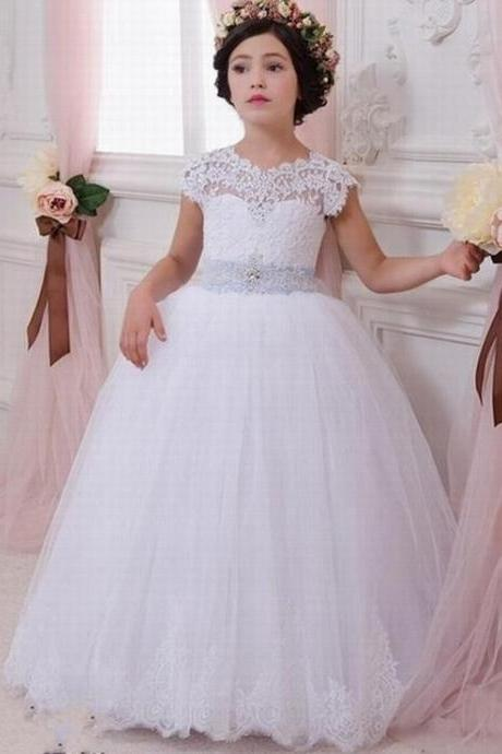 Love Wedding Lace Flower Girl Dress for Weddings First Communion Dresses for Girls Lace up Back Ball Gown Custom Made Plus Size ytz204 (2