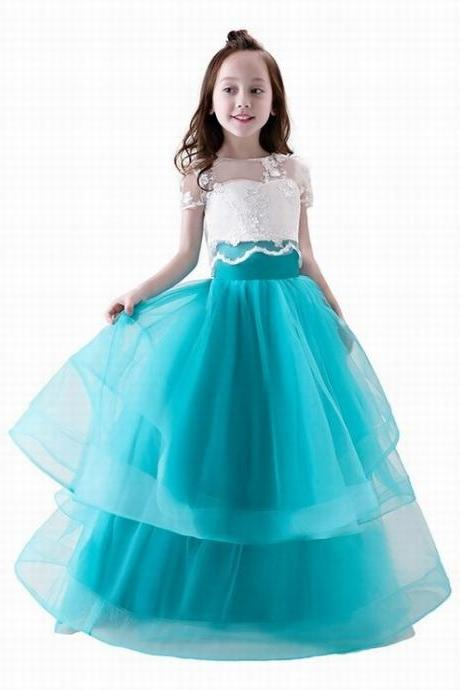Two Pieces Light Blue Skirt Princess Lace Flower Girls Dress With Ball Gown Tulle First Communion Dresses ytz219