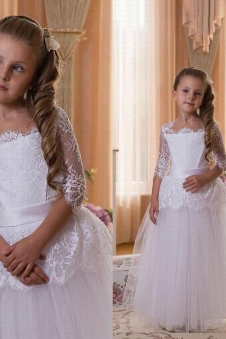 Princess Lace Flower Girls Dress With Half Sleeve Kids Ball Gown Tulle Cheap China First Communion Dresses ytz246