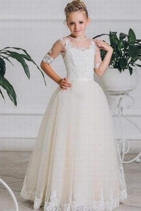 Light Champagne Princess Lace Flower Girls Dress Half Sleeve Ball Gown Tulle 2017 Cheap China First Communion Dresses ytz279