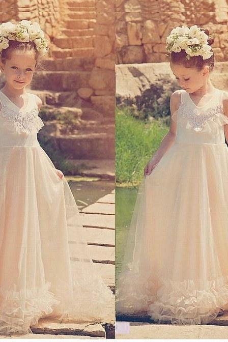 Ivory Flower Girl Dresses Tulle Princess Long Bridesmaid Kids Gowns For Wedding ytz299 (1)