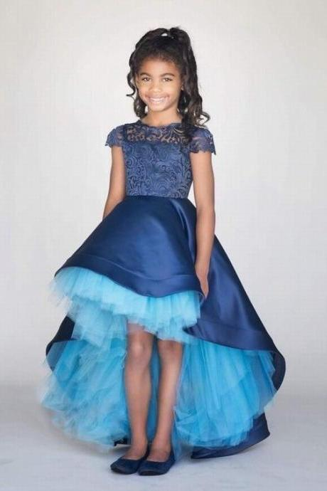 Hi-Lo Royal Blue Satin Tulle Flower Girl Dresses Princess Wedding Gowns Custom ytz308 (1)
