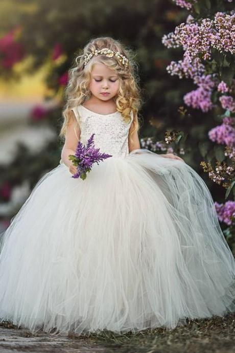 Flower Girl Dress Ivory Vintage Bridesmaid Birthday Party Prom Ball Gown For Kid ytz343 (1)