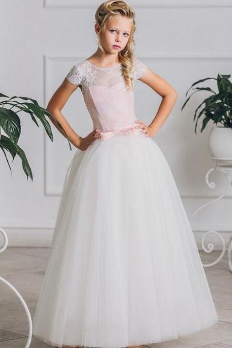 Hot Sale Girl Ball Gown with Pink Ribbon Bow First Communion Dresse ytz346 (1)