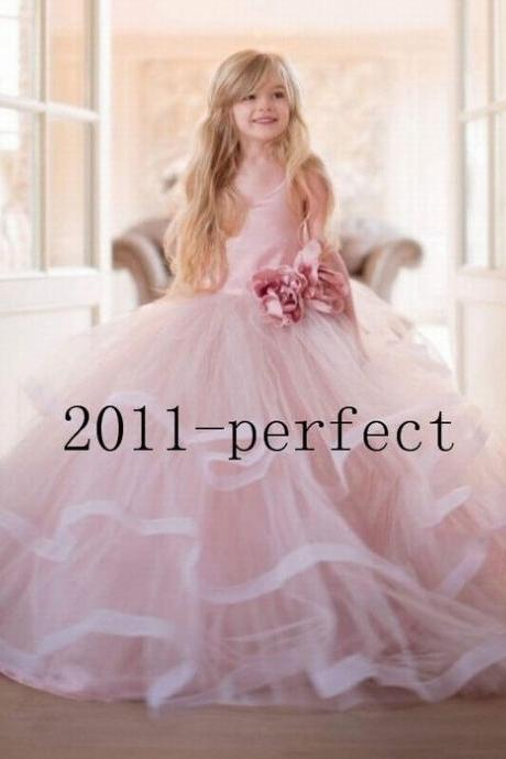 New Pink Princess Handmade Flower Girl Dress Organza Formal Party Wedding Gowns ytz353 (1)