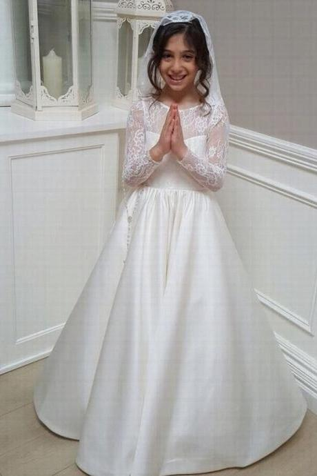 Long Sleeve Satin Skirt Lace Flower Girls Dresses for Wedding First Communion Prom Party Dresses st73