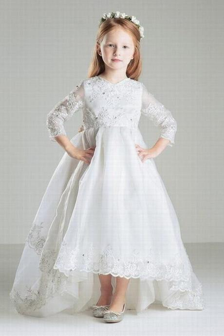 Puffy Tulle Long Sleeve Lace Flower Girls Dresses Kids Princess Pageant Dress st90