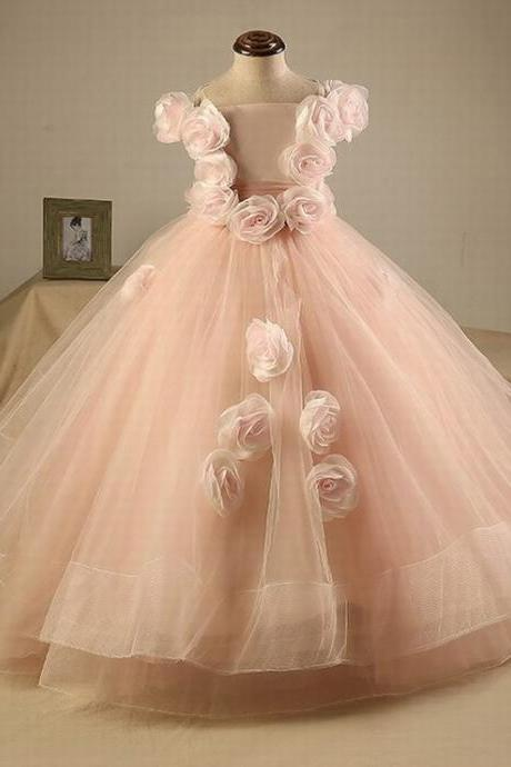 Lovley Princess Flower Girls Dresses With Flowers Long Pageant Dress Kids Party Dress Ball Gowns Pink Custom st147 (1)
