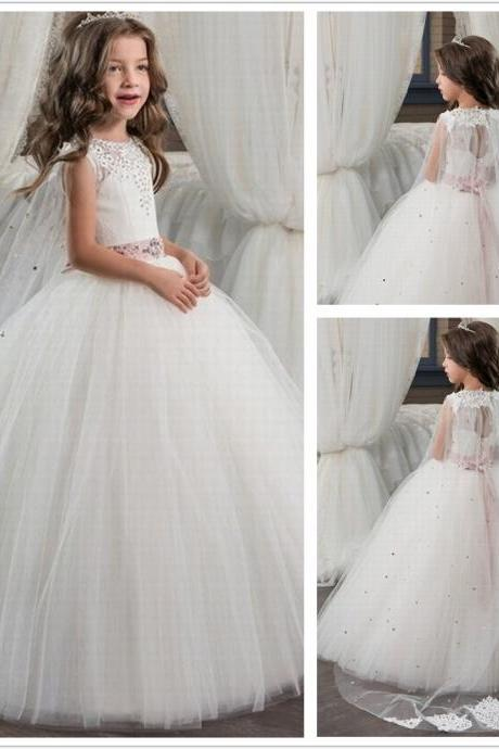 Romantic Ball Gown Tulle Beading Flower Girl Dress 2017 O-Neck for Weddings Girl Lace Up Party Communion Dress Pageant Gown st155 (1)