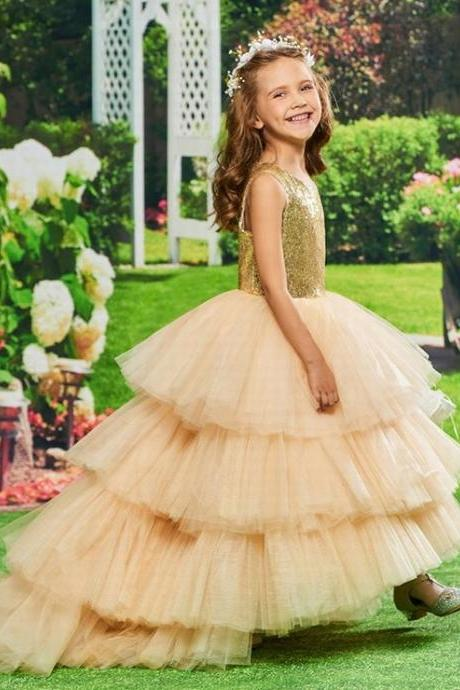 Flower Girl Dress Ball Gown Scoop Neck Sleeveless Asymmetry Cascading Ruffles Sequins Custom Princess Flower Girl Dress st158