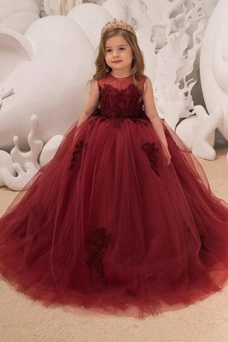Flower Girl Dress - Birthday Wedding party Bridesmaid Holiday Maroon Lace Flower Girl Dress xk05