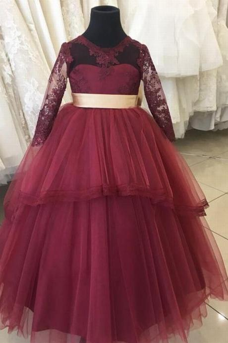 Burgundy and Gold Flower Girl Dress with a back Bow xk95 (1)