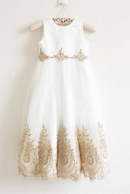 Flower Girl Dress with Gold Embroidery Floor Length Baby Girl Dress Waist Embroidery Flower Girl Dress xk108 (1)