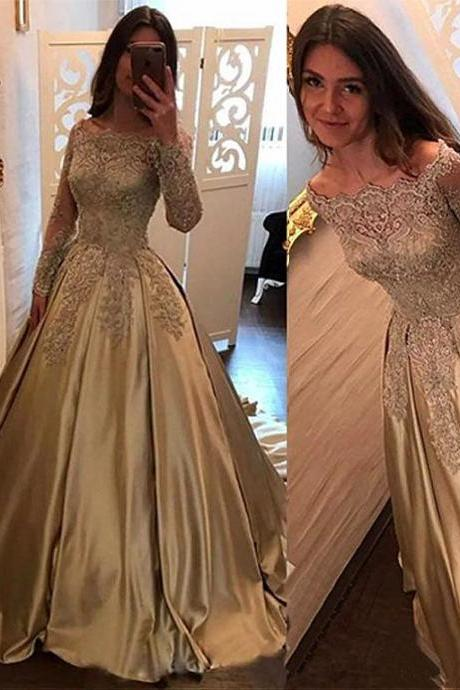 Elegant Golden Wonderful Satin Off-the-shoulder Neckline Ball Gown Evening Dress With Beaded Lace Appliques 18LF05