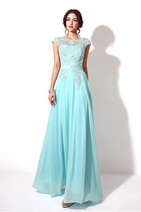 Pageant A Line Chiffon Bateau Neckline Full-length A-line Prom Dresses With Beaded Lace Appliques 18LF06