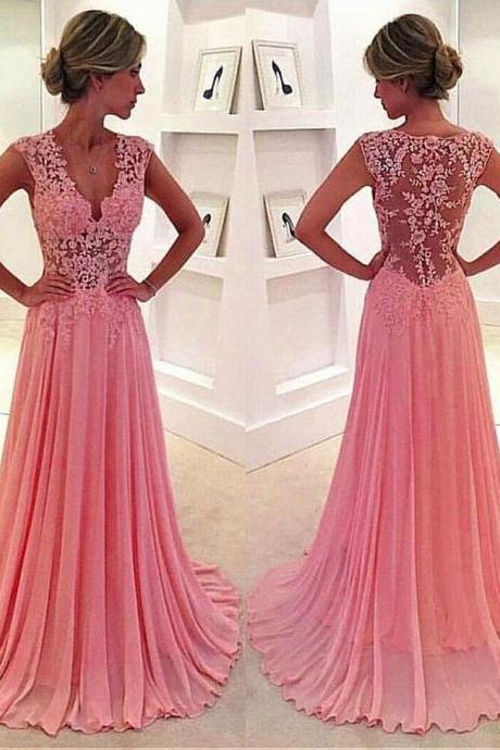 Elegant Tulle & Chiffon V-neck Neckline See-through A-Line Evening Dresses With Lace Appliques 18LF16
