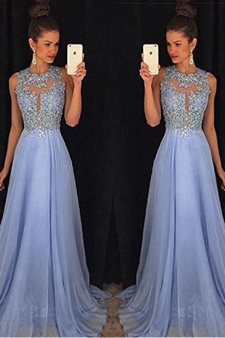 Fashionable Chiffon Jewel Neckline Cut-out A-line Prom Dress With Beaded Lace Appliques 18LF36