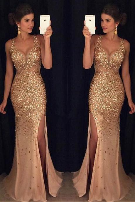 Gorgeous Tulle V-neck Neckline Mermaid Evening Dresses With Beadings 18LF43