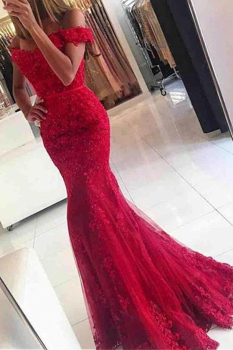 Junoesque Tulle Off-the-shoulder Neckline Mermaid Formal Dresses With Beaded Lace Appliques 18LF50