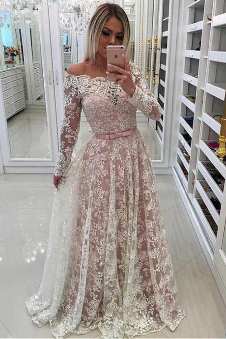 Fascinating Lace Off-the-shoulder Neckline Long Sleeves A-line Prom Dress With Beaded Lace Appliques 54