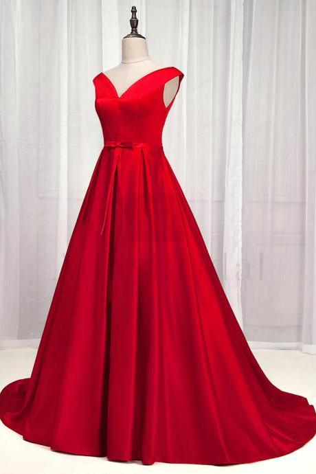 Exquisite Satin Off-the-shoulder Neckline A-Line Prom Dress With Bowknot 77
