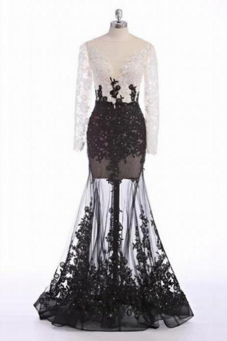 Sheer Long Sleeve White Black A Line Sexy Black Tulle Wedding Dress Evening Dress Full Length Prom Dress 92