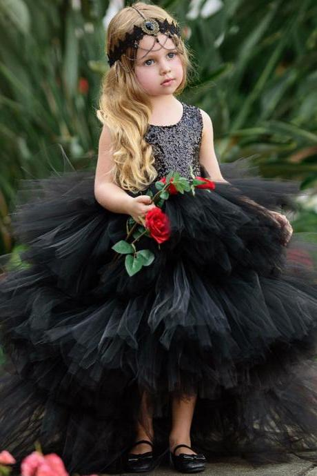 Black Sequin Ruffle Tulle Kids Princess Gown Flower Girl Dress - Birthday Wedding party Bridesmaid Holiday Flower Girl Dress 04