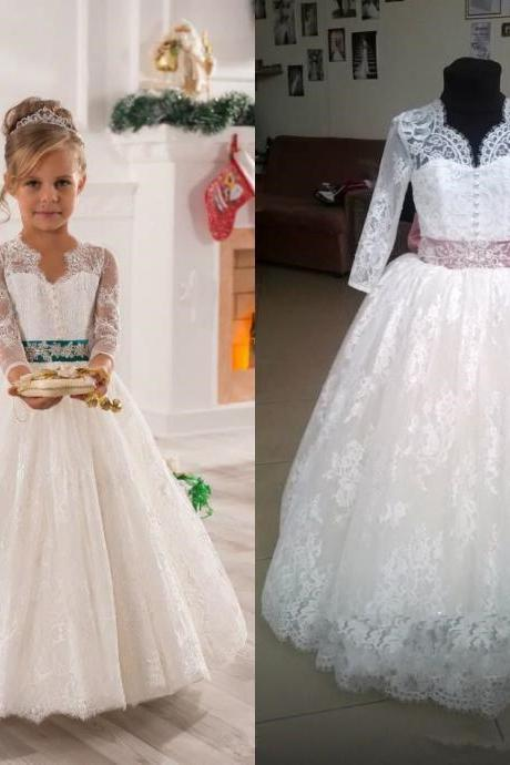 Long Sleeve Flower Girl Dress Kids Floor Length Birthday Wedding party Bridesmaid Holiday Princess Gown Lace Flower Girl Dress 01