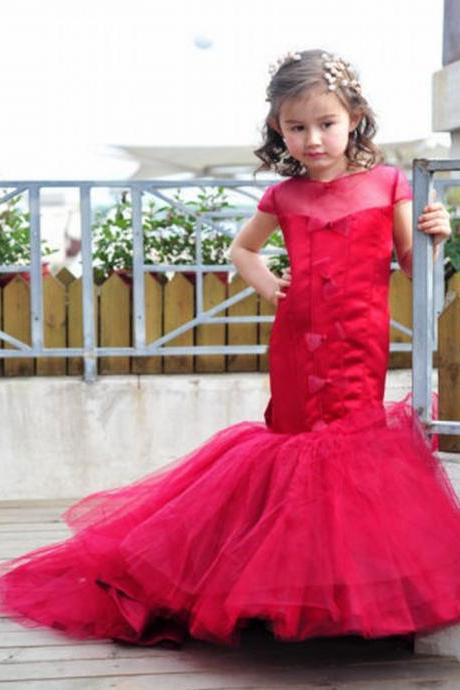 Red Mermaid Kids Flower Girl Dress First Communion Dresses Birthday Wedding party Bridesmaid Holiday Princess Gown Lace Flower Girl Dress 21