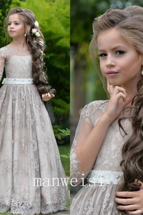 Gray Half Sleeve Kids Flower Girl Dress First Communion Dresses Birthday Wedding party Bridesmaid Holiday Princess Gown Lace Flower Girl Dress 22